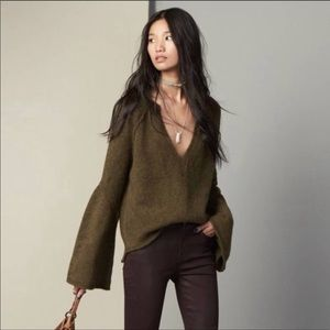 Free People Lovely Lines Olive Bell Sleeve Sweater
